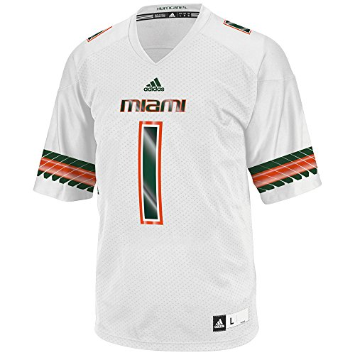 NCAA Miami Hurricanes Adult Men Replica Football Jersey, White, -