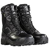 Steel Toe Tactical Boots - FREE SODLIER Waterproof Shoes Penetration Resistant Composite Toe Combat Boot(Black 12.5)