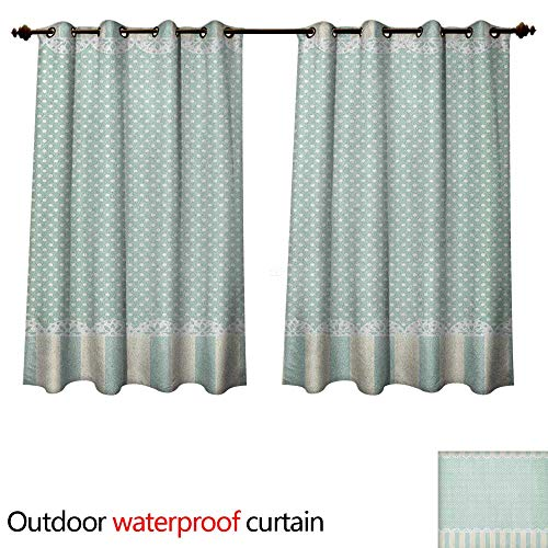 Anshesix Shabby Chic Outdoor Curtains for Patio Sheer Traditional Old Fashioned Vertical Stripes Ornaments and Dots W63 x L63(160cm x ()