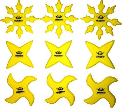 Armory Rubber Ninja Throwing Stars Practice Shuriken - Set of 9 (Ninja Star Set)