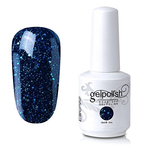 Elite99 Soak-Off UV LED Gel Polish Nail Art Manicure Lacquer Glitter Greenish Blue 451 15ml