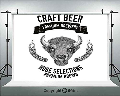 - Man Cave Decor Photography Backdrops Hand Drawn Beer Emblem with Buffalo Ox Bull Premium Brewery Oats Selections,Birthday Party Background Customized Microfiber Photo Studio Props,8x8ft,Black White