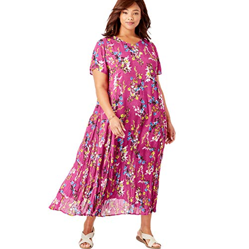 Woman Within Women's Plus Size Crinkle Dress - Bright Berry Free Floral, ()