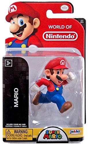Jakks Pacific Year 2016 World Of Nintendo Super Mario Series 2 1 2 Inch Tall Figure   Running Mario With Display Stand