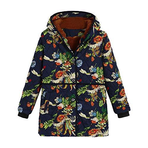 Vert Magiyard Capuche Oversize À Pochettes Hiver Imprimées Vêtements Vintage Femmes Floral Manteaux Chauds HHFBx
