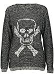 Forever Womens Stylish Skull Bone Owl And Cross Print Long Sleeves Jumper