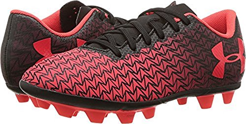 Under Armour Kids Unisex CF Force 3.0 FG-R Jr. Soccer (Toddler/Little Kid/Big Kid) Black/White/Neon Coral Athletic Shoe