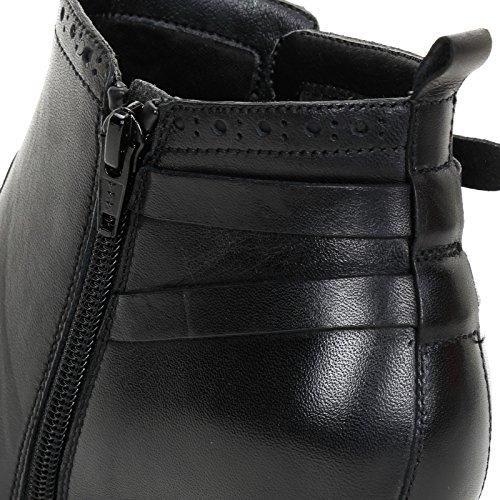 Alesya by Scarpe&Scarpe - Stiefeletten mit Absatz und Riemchen, Leder, mit Absätzen 8 cm Schwarz