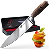 Chef Knife Premium Japanese AUS8 Steel - Professional 8 Inch Kitchen Chefs Knife - Durable, Rust-Proof Stainless Steel Sharp Blade with Solid Pakka Wood Handle in Elegant Magnetic Gift Box