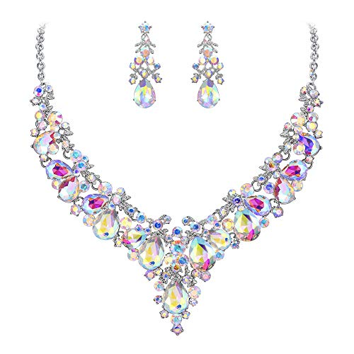 (EVER FAITH Women's Crystal Bridal Floral Cluster Teardrop Necklace Earrings Set Iridescent Clear AB Silver-Tone)