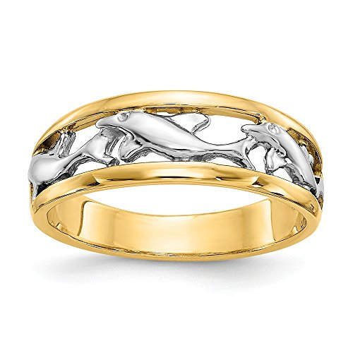 Size - 7 - Solid 14k Yellow & White Two Tone Gold Dolphin Ring (6mm)
