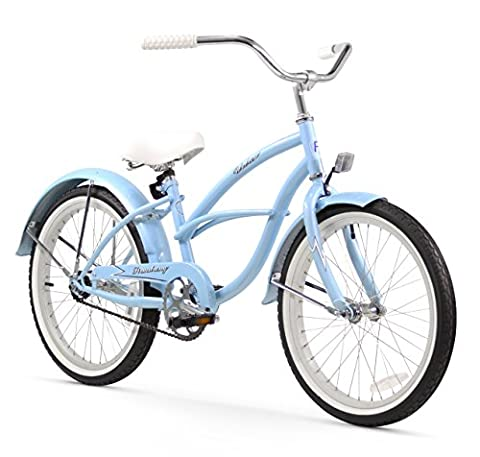 Firmstrong Urban Girl Single Speed Beach Cruiser Bicycle, 20-Inch, Baby Blue (1 2 Inch Kids Pedals)