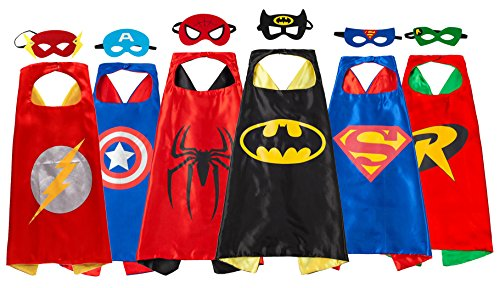 [Super hero Dress Up Costumes - 6 Satin Capes and 6 Felt Masks For Children - Party Favors] (A Superhero Costume)