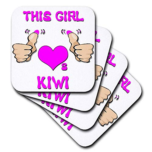 3dRose Blonde Designs This Girl Loves Various Things - This Girl Loves Kiwi - set of 4 Ceramic Tile Coasters (cst_185717_3) ()