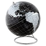 Lily's Home Political World Globe with Stainless Steel Axis Base Stand, Stunning and Functional Showpiece for Home or Office Use, Silver and Black (8'' Diameter)