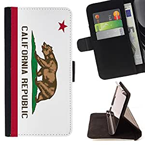 King Air - Premium PU Leather Wallet Case with Card Slots, Cash Compartment and Detachable Wrist Strap FOR LG Google Nexus 5 E980 D820 D821- California Flg