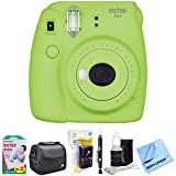 Fujifilm Instax Mini 9 Instant Camera Lime Green (16550655) with 20 Sheets of Instant Film, Bag for Cameras, AA Charger w/ AA Batteries, LCD/Lens Cleaning Pen, Lens Cleaning Kit & Micro Fiber Cloth