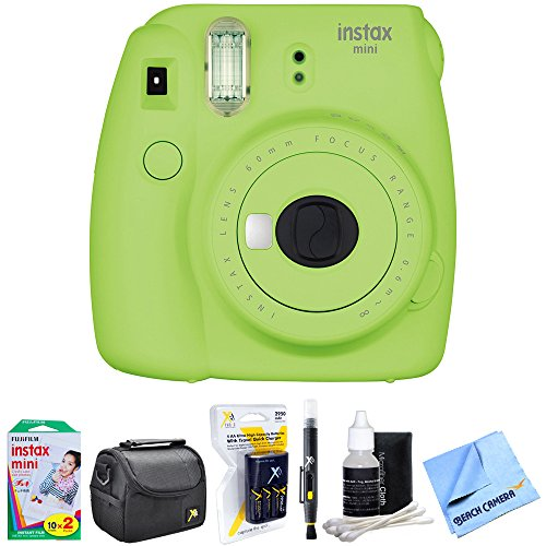 Fujifilm Instax Mini 9 Instant Camera Lime Green (16550655) with 20 Sheets of Instant Film, Bag for Cameras, AA Charger w/ AA Batteries, LCD/Lens Cleaning Pen, Lens Cleaning Kit & Micro Fiber Cloth by Fujifilm