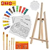 ETI Toys | 26 Piece Kids Art Painting Set with Wood Easel, 6 Cars and Trucks Themed Canvases, 12 Color Acrylic Paints, 5 Paint Brushes, Palette! Arts Studio for Artist Children Ages 6+ Years Old.