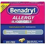 Benadryl Allergy Liqui-Gels, Dye-Free, 24 Count (Pack of 2)