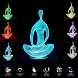New 3D Night Light- Modern Meditation Mood Lamp - 3D Illusion Lamp 7 LED Light Colors Optical Illusion with USB Cable Smart Touch Button Control,for Home Decor Office Party (Yoga Meditation)