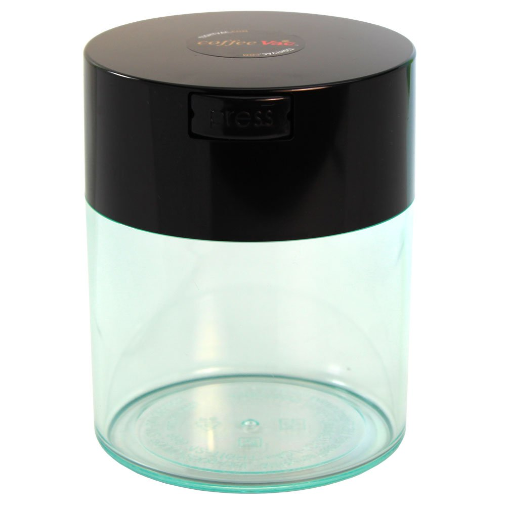 Coffeevac 1/2 lb - The Ultimate Vacuum Sealed Coffee Container, Black Cap & Clear Body
