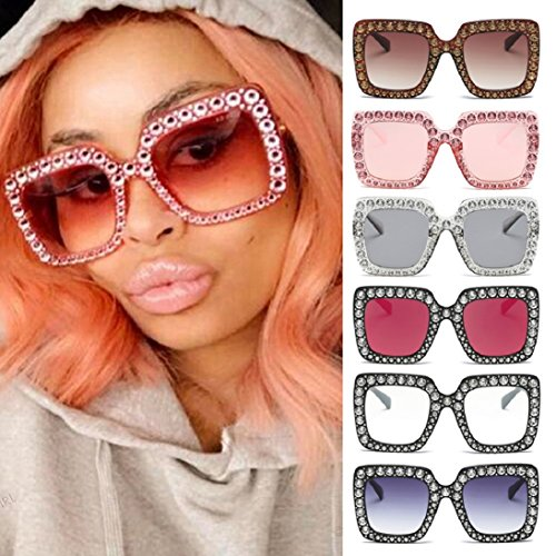 Fheaven Womens Fashion Artificial Diamond Cat Ear Quadrate Big Metal Frame Brand Classic Sunglasses - For Face Shape Female Sunglasses Diamond
