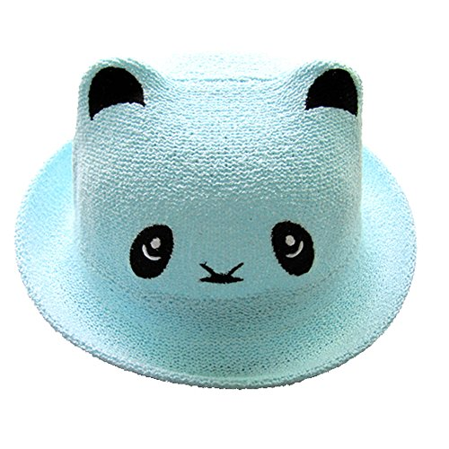 Easykan Baby Summer Topee Hat Children Cute Cartoon Panda Kids Cap (blue)