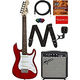 Fender Squier Short Scale (24″) Stratocaster – Transparent Red Learn-to-Play Bundle with Frontman 10G Amp, Cable, Tuner, Strap, Picks, Fender Play Online Lessons, and Austin Bazaar Instructional DVD