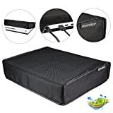 eXtremeRate Black Horizontal Dust Cover for Xbox One S Console Custom Designed Double Layer Soft Neat Lining Waterproof Dustproof Precision Cut Easy Access Cable Port