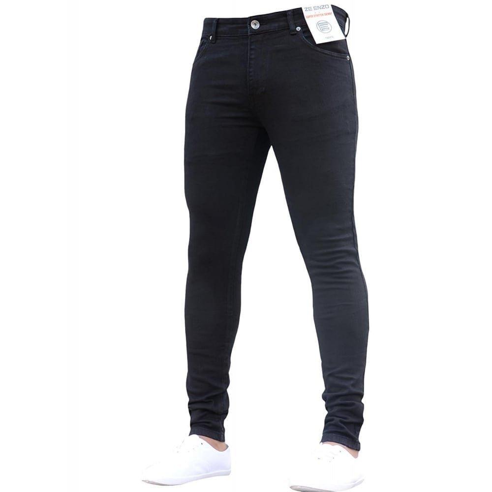 Enzo New Boys Kind Designer Stretch Skinny Slim Fit Black Denim Jeans