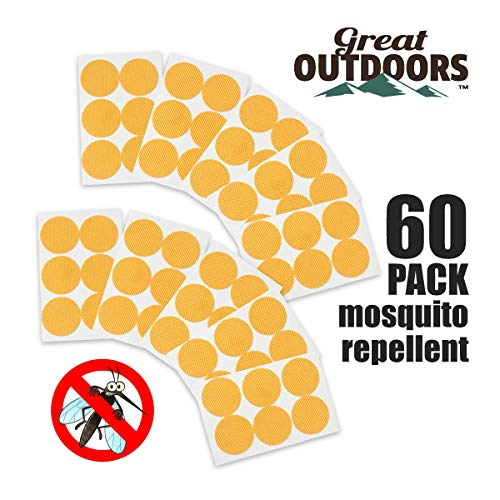 GREAT OUTDOORS TM Natural Mosquito Repellent Patches, Insect Bug Protection up to 24 Hours Bands, Deet-Free Patch, Pest Control for Kids & Adults (60-Pack, Bright Orange)