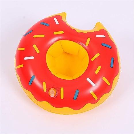 Mings Práctico y Duradero Donut Inflable Posavasos Flotante portavasos flotando Barcos (Rojo)