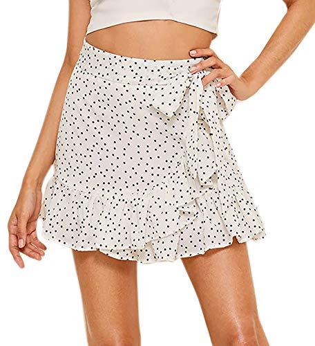 (WDIRARA Women's Summer High Waist Ruffle Hem Polka Dot Wrap Skirt White XS)
