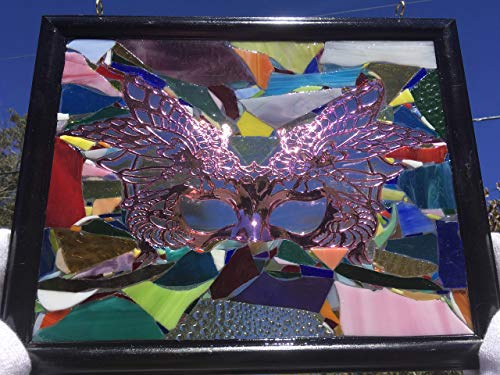 Mask Mardi Gras Stained Glass Window Art Sun Catcher, one of a kind, Handmade