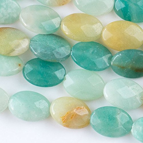 Cherry Blossom Beads Amazonite Beads 10x14mm Faceted Oval - 8 Inch Strand (Amazonite Oval Beads)