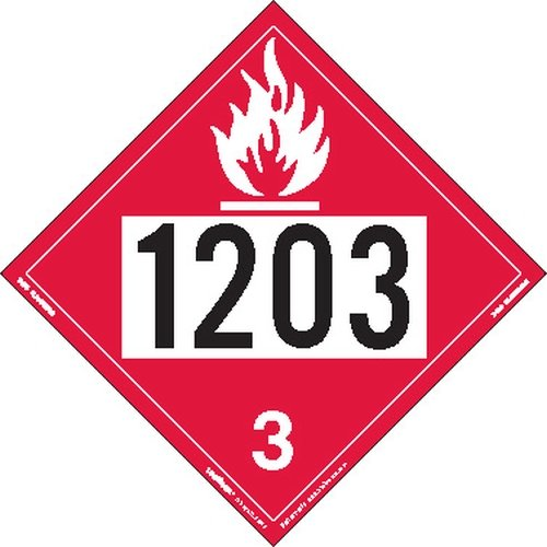 Labelmaster Z-IDG UN 1203 Flammable Liquid Hazmat Placard, Permanent Vinyl (Pack of 25)