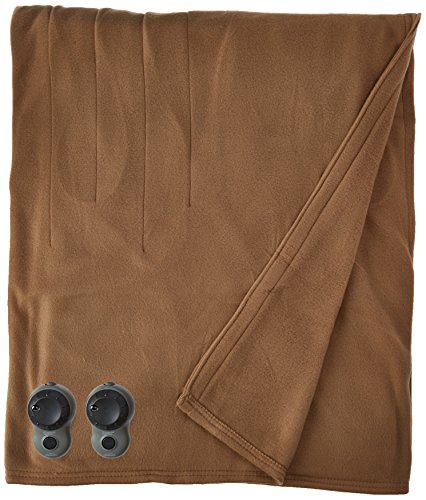 Fantastic Deal! Sunbeam Quilted Fleece Heated Blanket with Easyset Pro Controller, Full, Acorn