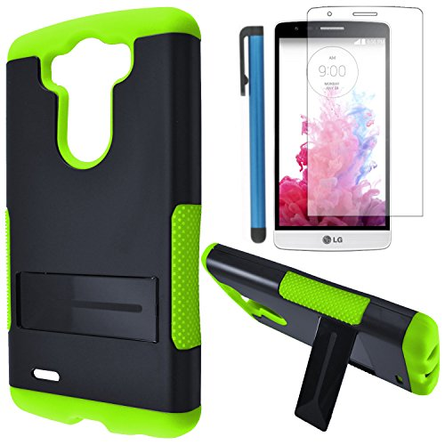 LG G3 VIGOR Case Combo(3-items)-IFUMES Dual- Layer Hard/Gel Hybrid Kickstand Armor Case (Black/Green)+ICE-CLEAR(TM) Screen Protector Shield(Ultra Clear)+Touch Screen Stylus