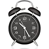 "Peakeep 4"" Twin Bell Alarm Clock with Stereoscopic Dial, Backlight, Battery Operated Loud Alarm Clock (Black)"