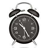 Peakeep 4' Twin Bell Alarm Clock with Stereoscopic Dial, Backlight, Battery Operated Loud Alarm Clock (Black)