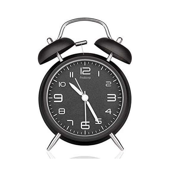 Peakeep 4 inches Twin Bell Alarm Clock with Stereoscopic Dial, Backlight, Battery Operated Loud Alarm Clock (Black) - Loud ringing for people who are heavy sleepers, mild loss hearing No snooze button, it can only be turned off by flipping a switch in the back, good helper for people who has trouble waking up. Silent with a sweeping second hand, do not make a tick tock noise - clocks, bedroom-decor, bedroom - 51onzUcSxaL. SS570  -