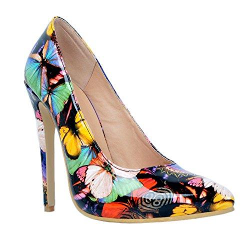 Kolnoo Damen Faschion 10cm Patchwork Beleg auf großen hohen Absatz Pumpen Schuhen Black