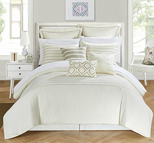 Chic Home 9 Piece Brenton Super Rich Microfiber Stitch Embroidered Comforter Set, King, Beige ()