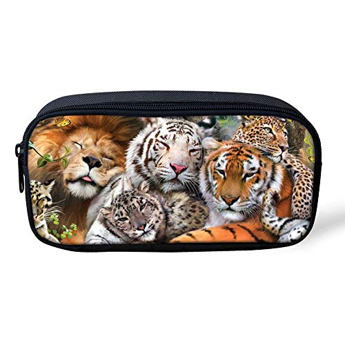 Showudesigns Pencil Case Boys Animal Tiger Print Kids Pencil Sunday Bag with Zipper for School Children Stationery Organizer ()