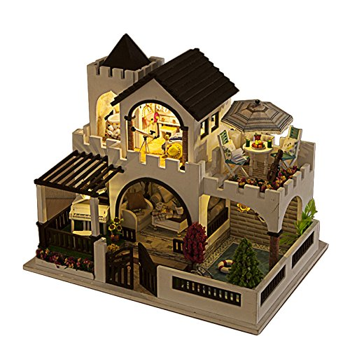 Rylai Wooden Handmade Dollhouse Miniature DIY Kit -My Dream Castle Series Beach House  Furniture Dollhouses 2015 X'mas Gift( 1:24 Scale Dollhouse)