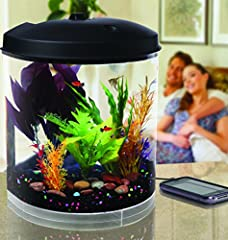 Enjoy listening to calm and soothing sounds of nature with this awesome aquarium with built-in sound machine. Listen to recorded sounds of Bubbling Brooks, Ocean Waves, Rain Forest, and Thunderstorms while watching beautiful fish swim back an...