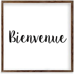 Square Wooden Wall Decor Sign Bienvenue Wood Framed Signs for Home Wall Art Hanging Sign Decoration for Bedroom 12