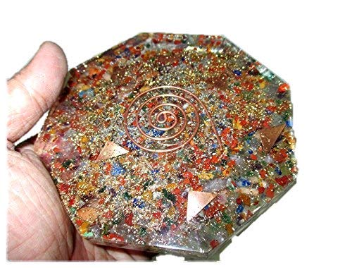 Jet Mix Gemstone Orgone Octagon Vastu Plate Energy Generator Crystal Gemstones Unique Rare Science Construction Vedic Astrology Wealth Health Image is JUST A Reference.