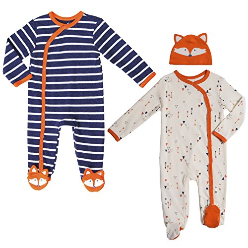 Twins Baby Boys' Clothing Sets, 6-9 Month. Footed Pajamas and Matching Fox Hat